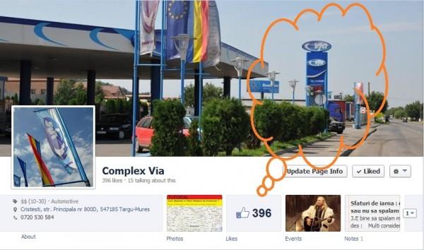 396 likes pentru pagina de facebook Complex Via
