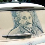 Spalatorie auto Targu Mures: alternativa la desene in praful de pe masina Albert Einstein