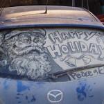 Spalatorie auto Targu Mures: alternativa la desene in praful de pe masina Mos Craciun